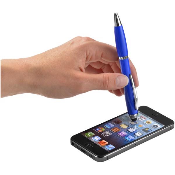Barevné kuličkové pero a stylus Nash s barevným úchopem - Světle modrá