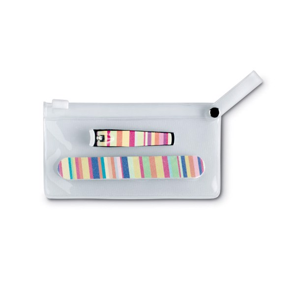 Manicure tools in clear pouch Arme