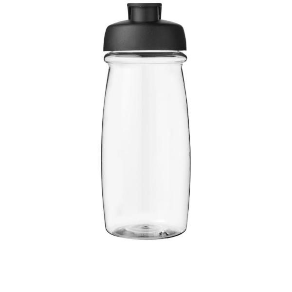 Sportovní láhev s vyklápěcím víčkem H2O Pulse® 600 ml - Průhledná / Černá