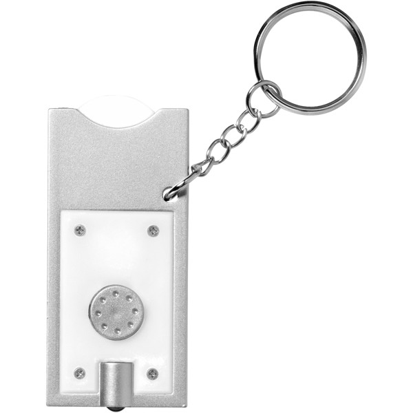 Allegro LED keychain light with coin holder - White / Silver