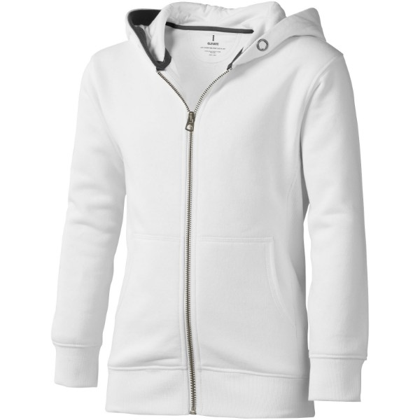Arora hooded full zip kids sweater - White / 140
