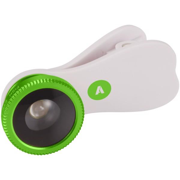Čočka s efektem rybího oka s klipem - Bílá / Zelená