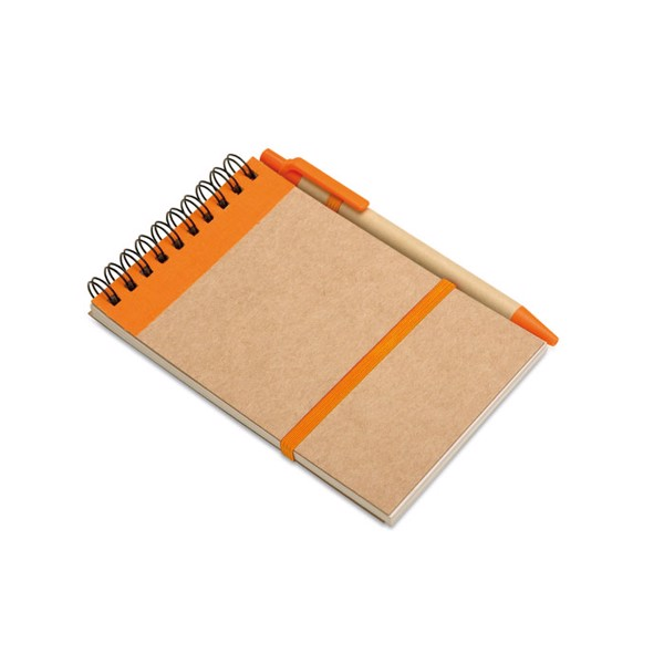 Recycled paper notebook + pen Sonora - Orange
