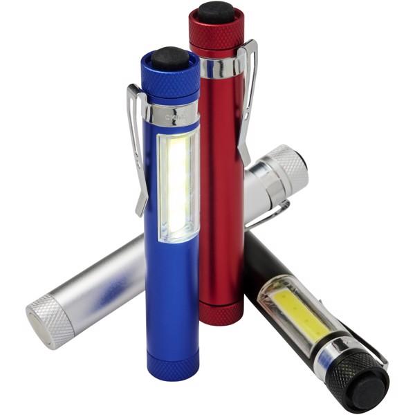 "Linterna COB de bolsillo con clip y base magnética ""Stix"" - Azul Real"