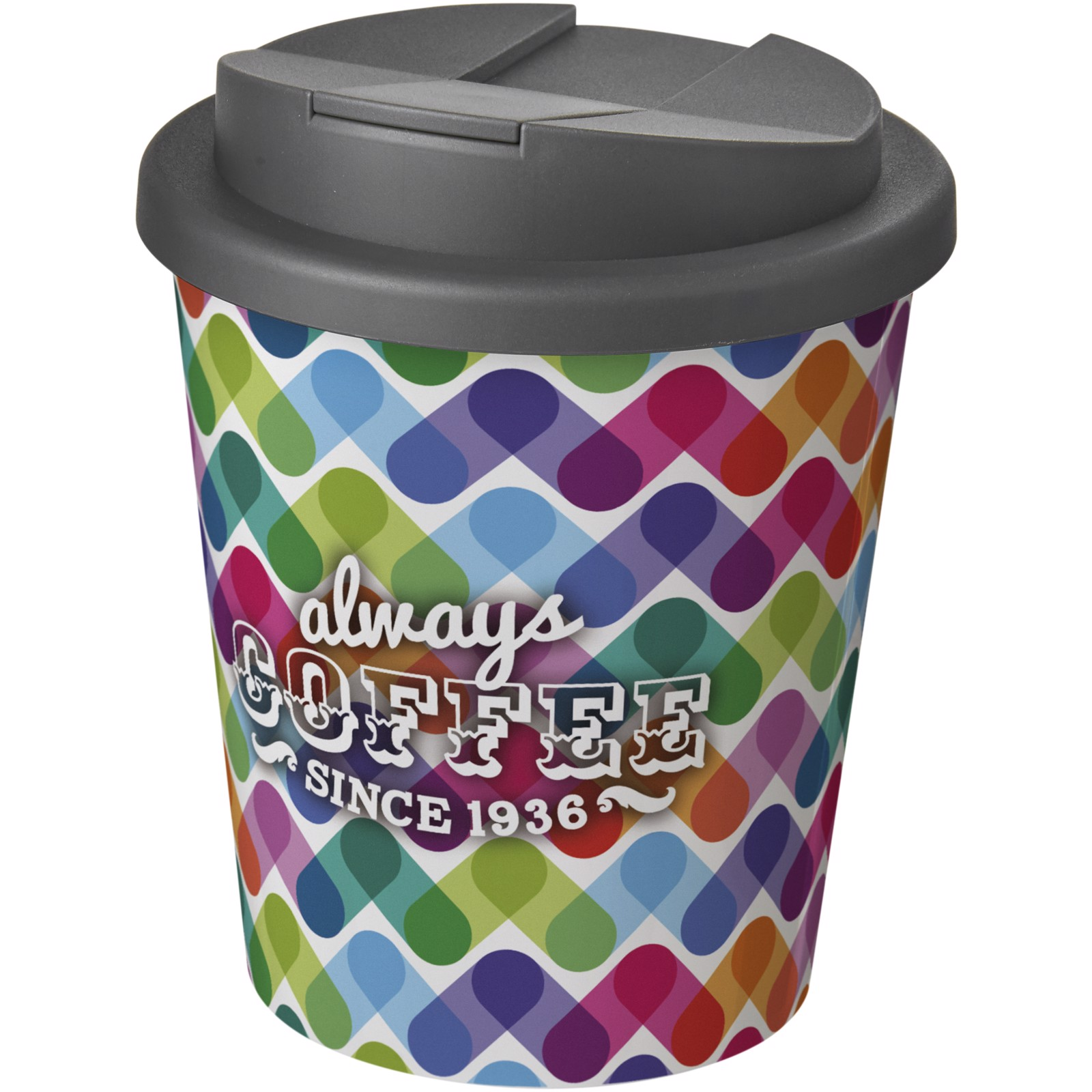 Brite-Americano Espresso® 250 ml con tapa antigoteo - Blanco / Gris