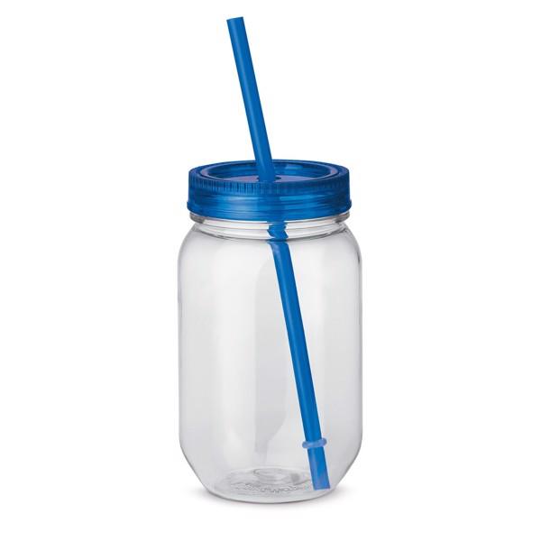 STRAW. Láhev s brčkem 550 ml - Královská Modrá