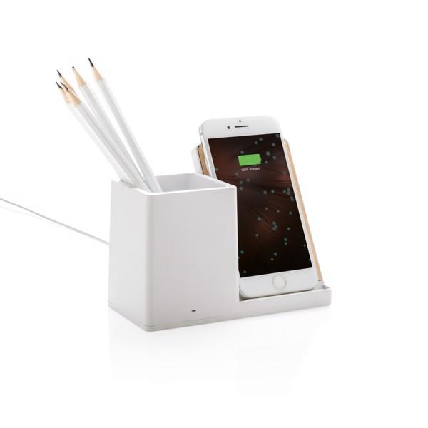 Ontario 5W-os vezeték nélküli töltő asztali tolltartóval - Fehér