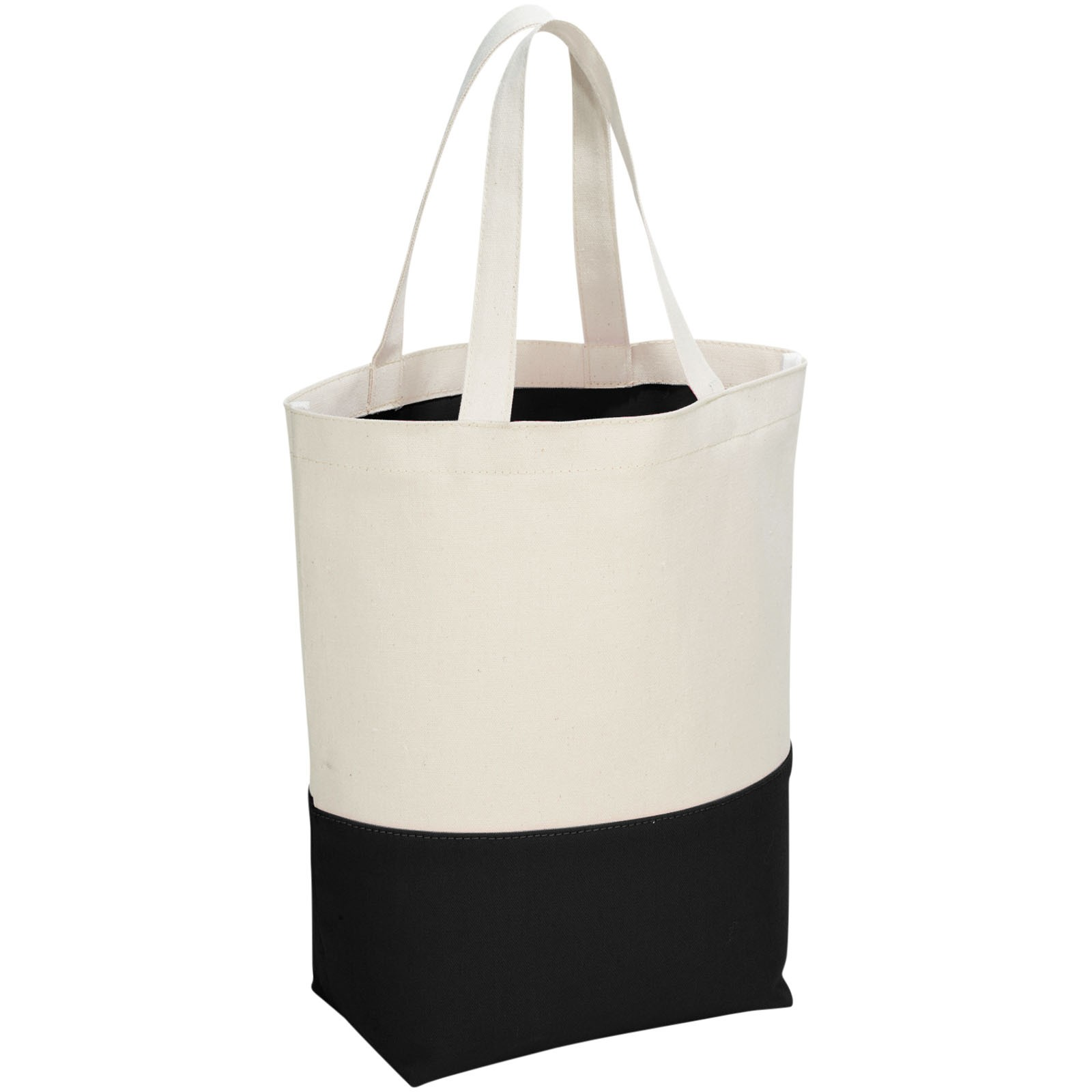 Colour-pop 280 g/m² cotton tote bag - Natural / Solid black
