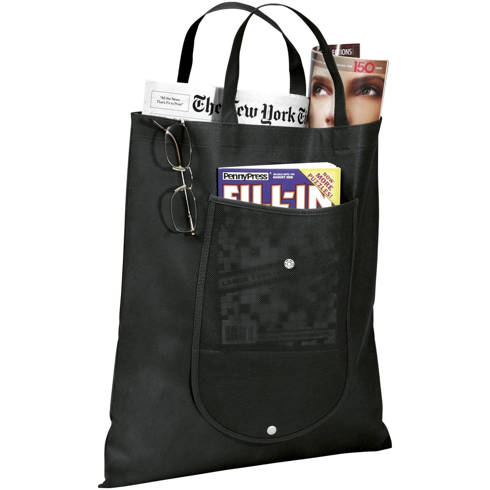 Skládaná netkaná taška - Černá