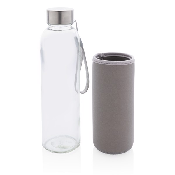 Glass bottle with neoprene sleeve - Grey