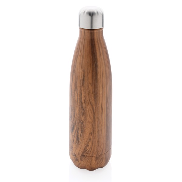 Nerezová termo láhev v dekoru dřeva - Hnědá