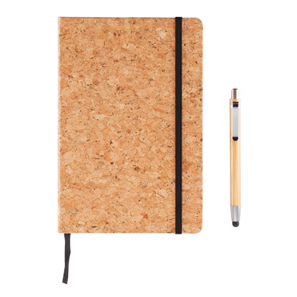 Carnet de notes en liège avec stylo en bambou A5