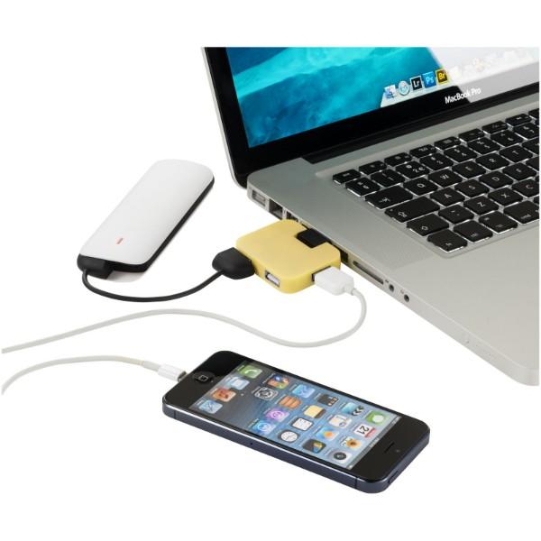 "Hub USB de 4 puertos ""Gaia"" - Amarillo"
