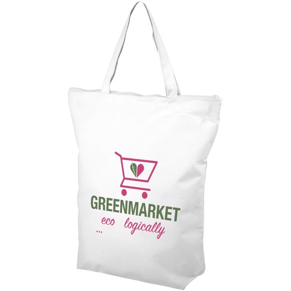 Privy zippered short handle non-woven tote bag - White