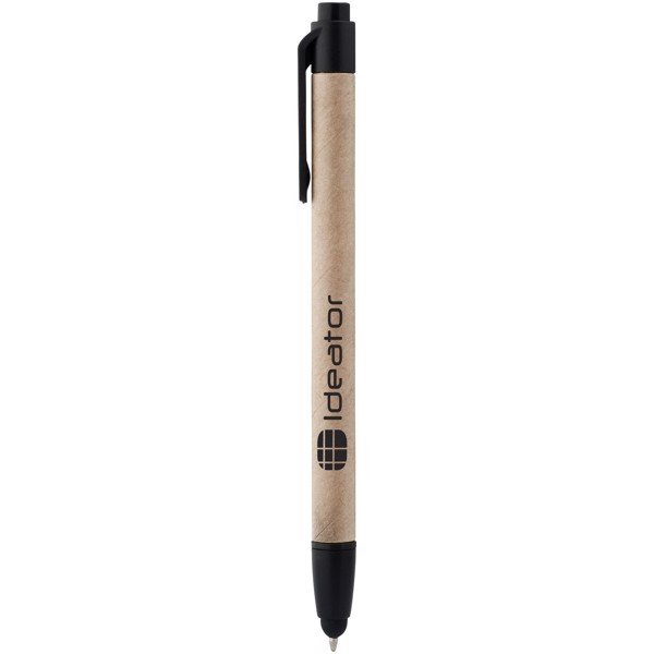 Planet recycled stylus ballpoint pen - Natural / Solid black