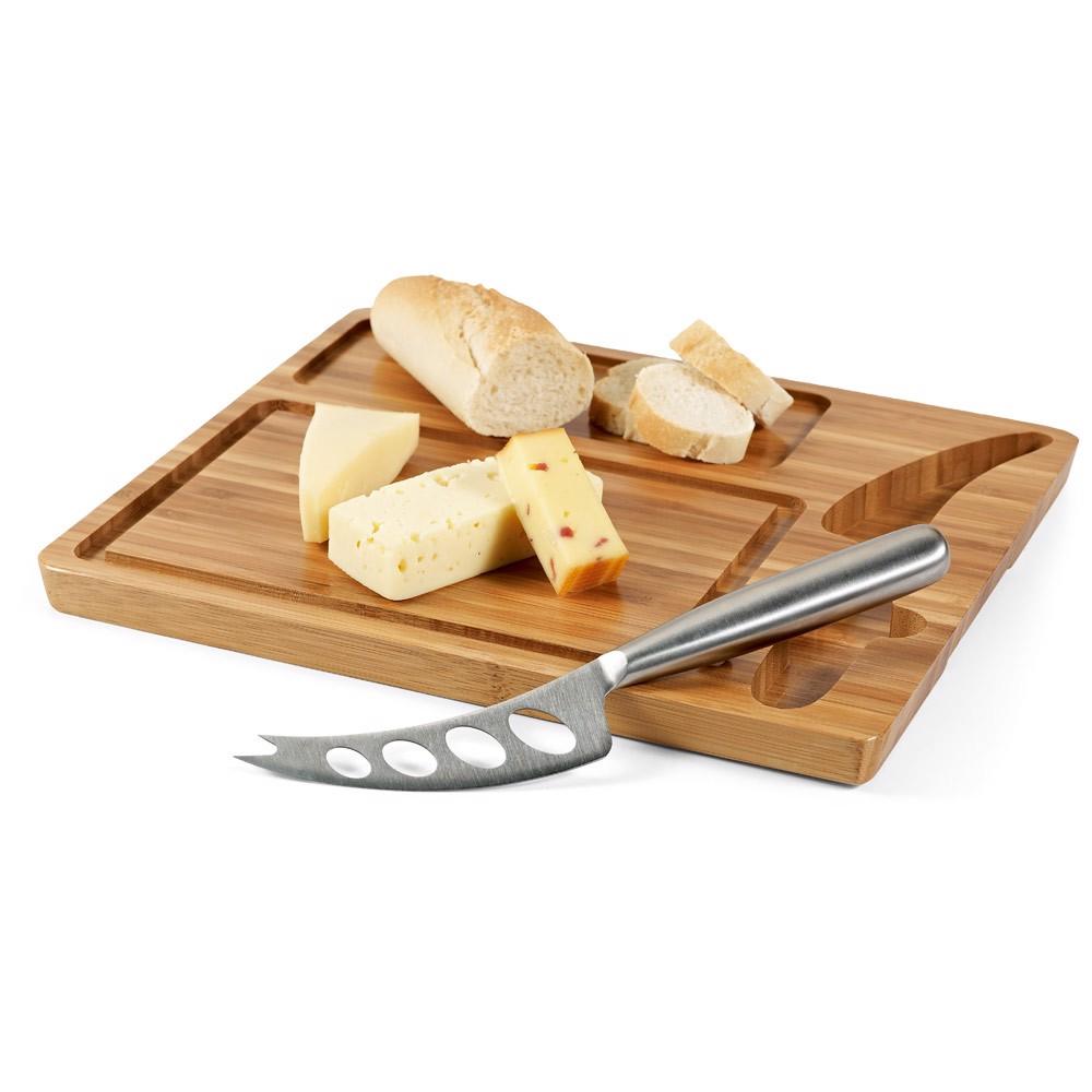 MALVIA. Tabla de quesos de bambú con cuchillo