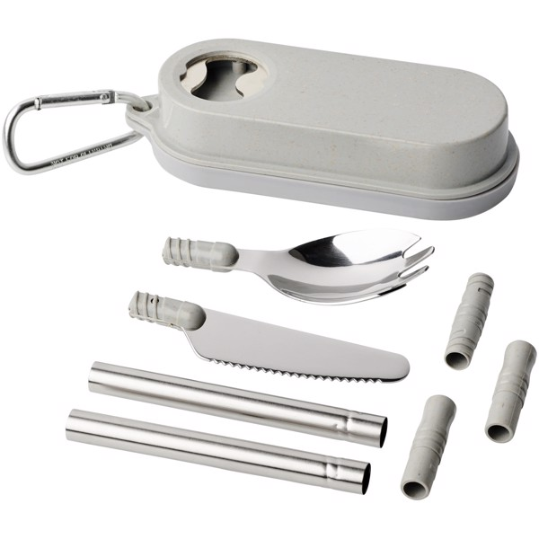 Giles wheat straw cutlery set with bottle opener - Grey