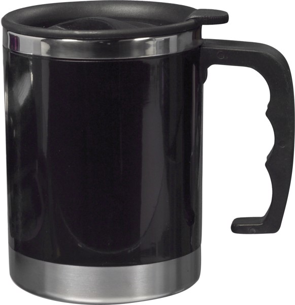 Stainless steel and AS double walled mug - Black