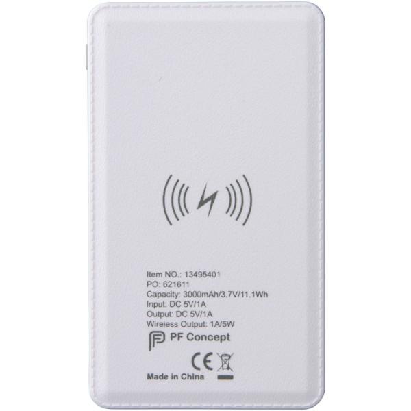 Powerbanka 3,000 mAh s bezdrátovým nabíjením - Bílá
