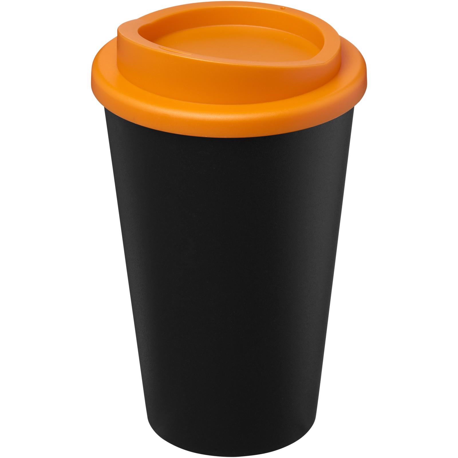 Americano Eco Vaso reciclado de 350 ml - Negro intenso / Naranja