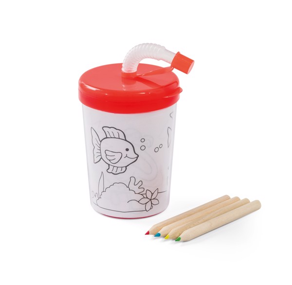 TEJO. Travel cup in PP and PS - Red