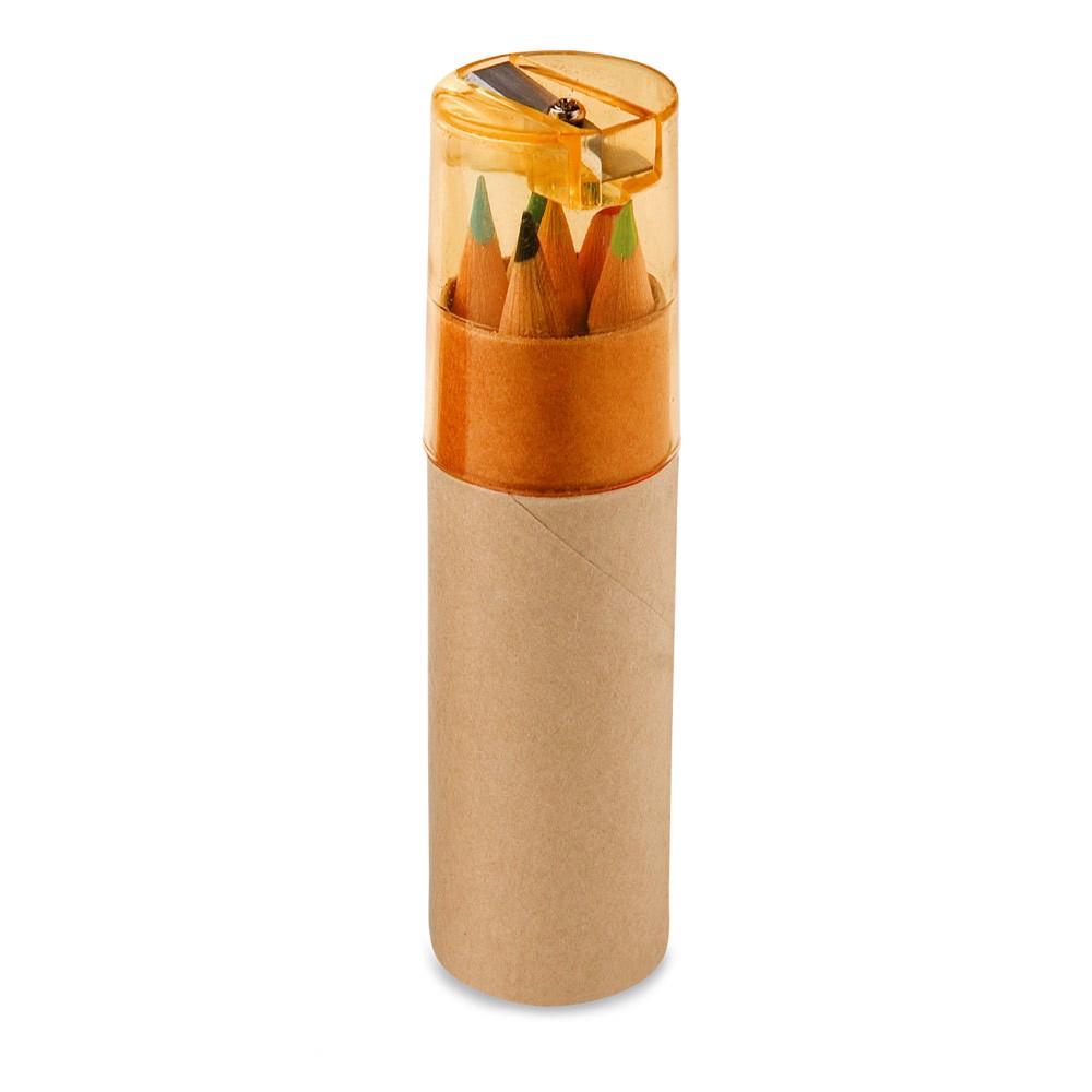 ROLS. Pencil box with 6 coloured pencils - Orange