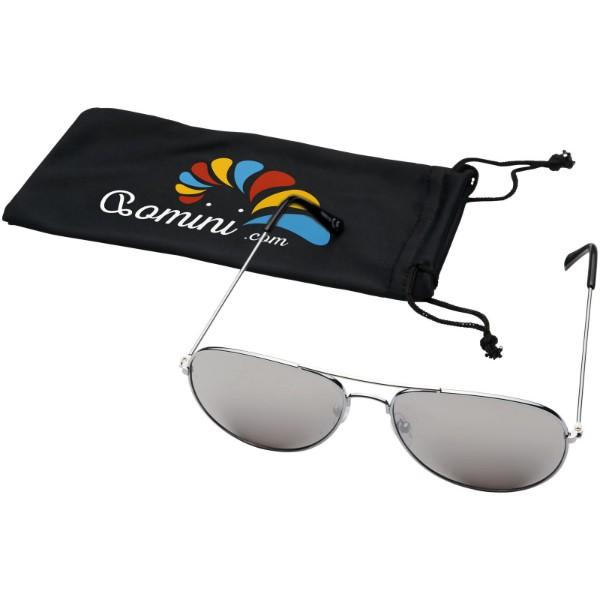 Okulary przeciwsłoneczne Aviator z lustrzanymi, kolorowymi soczewkami - Srebrny