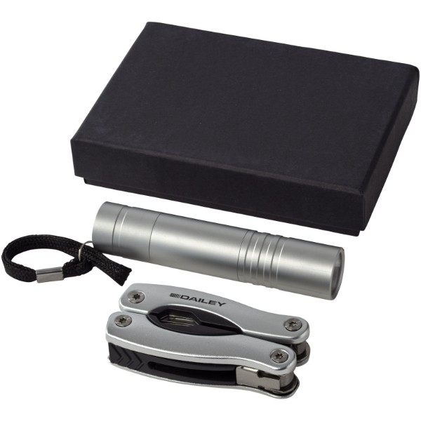 Scout multi-function knife and LED flashlight set - Silver