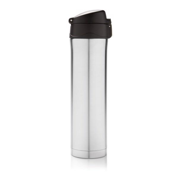 Könnyen zárható vákuum termosz - Ezüst Színű / Fekete