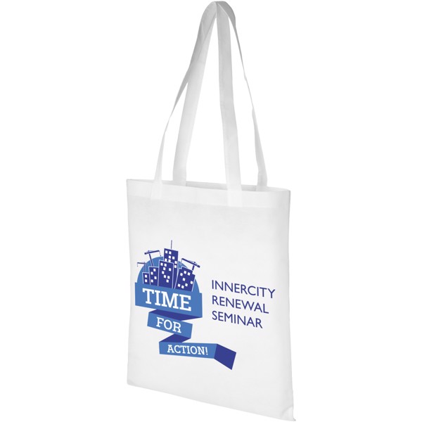 Zeus large non-woven convention tote bag - White