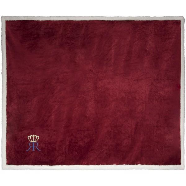 Pléd Lauren z materiálu sherpa fleece - Burgundská červená