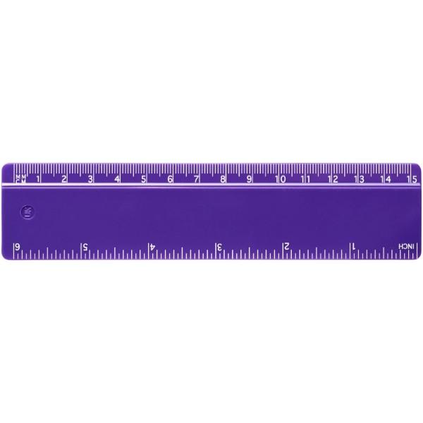 Renzo 15 cm plastic ruler - Purple
