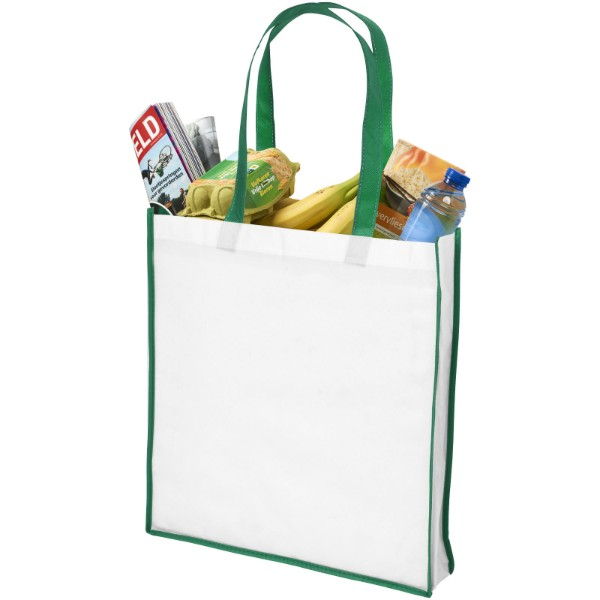Contrast large non-woven shopping tote bag - White / Green
