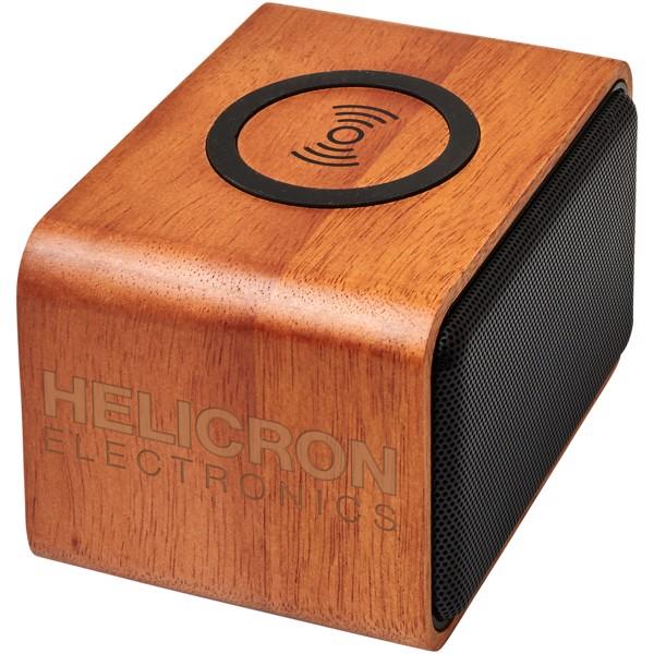 Wooden reproduktor s bezdrátovou nabíjecí podložkou
