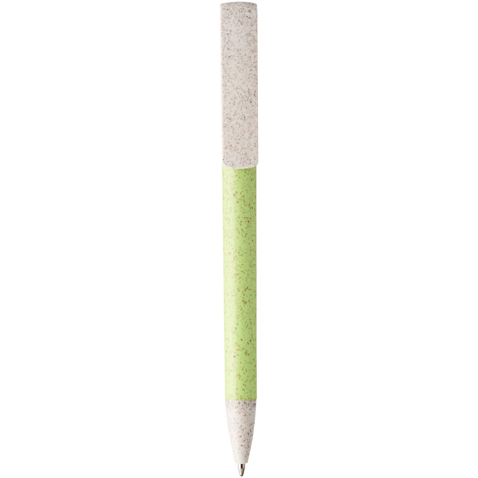 Medan kuličkové pero z pšeničné slámy a držák telefonu - Zelené jablko