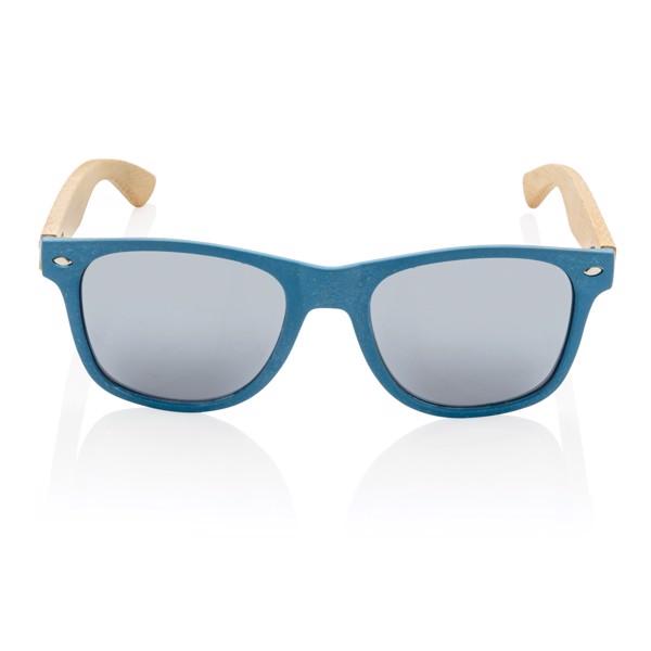 Sluneční brýle z bambusu a pšeničné slámy - Modrá