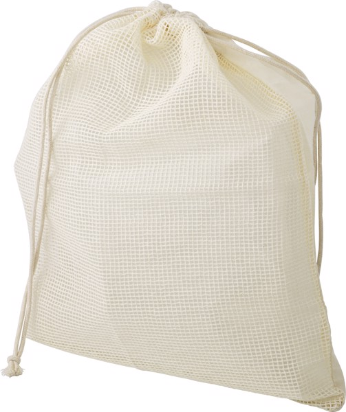 Bolsa 100% algodón orgánico con rejilla en un lateral.