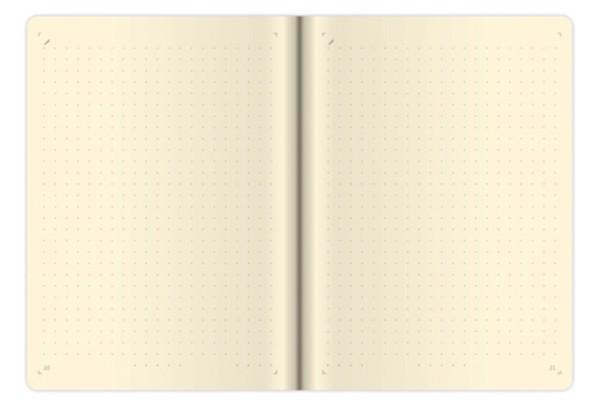 Tečkovaný zápisník Flip  (čtverečkovaný), M - šedo / šedý