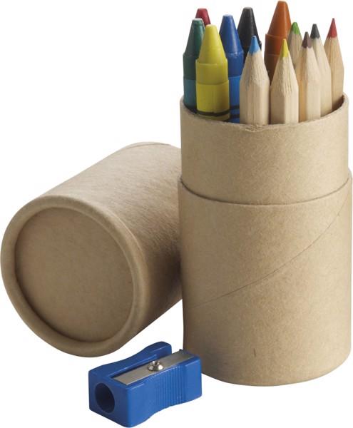 Cardboard tube with pencils