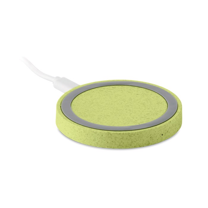 Cargador inalámbrico paja trigo Plato+ - verde