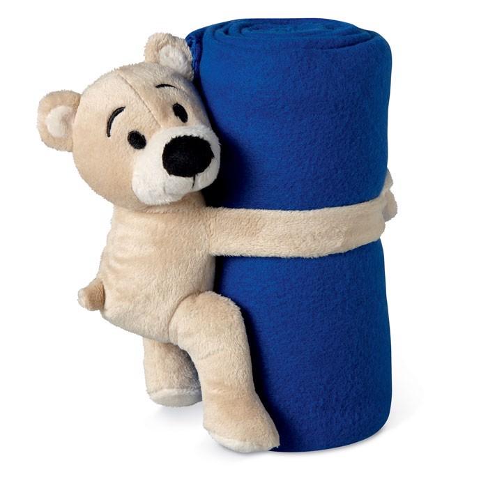 Fleece blanket with bear Manta - Blue