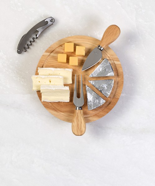 Wooden cheese plate set