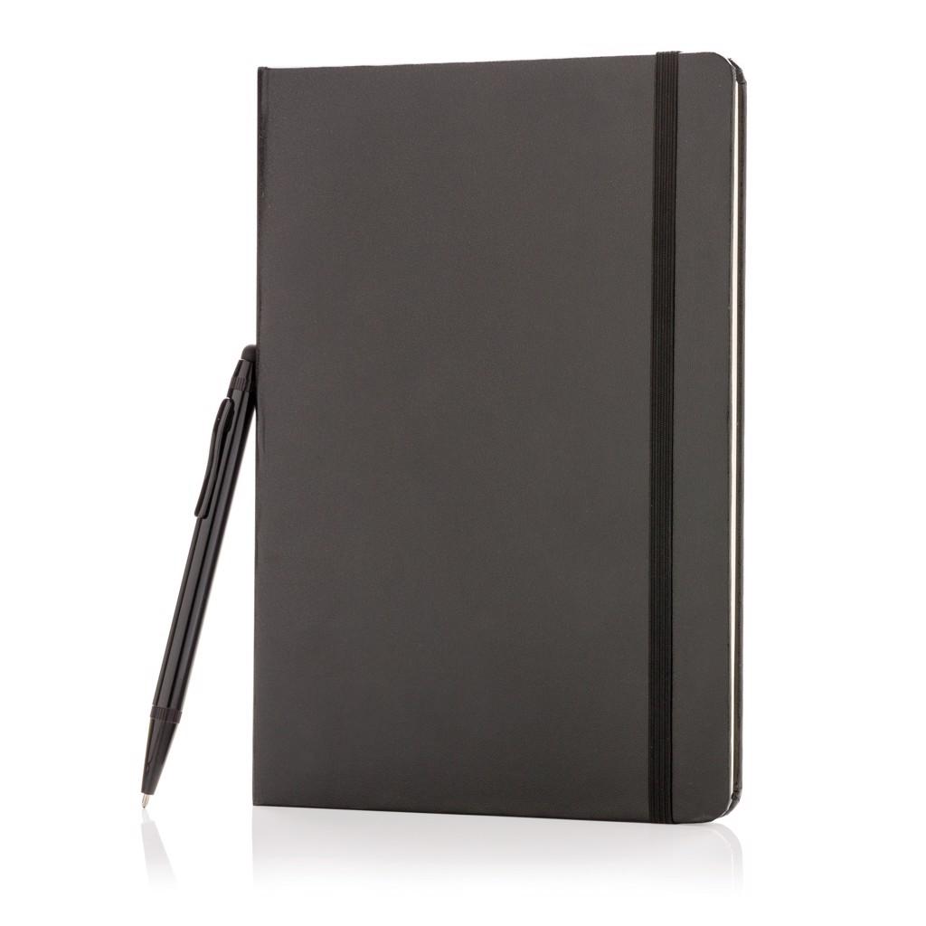 Basic keményfedelű A5-ös jegyzetfüzet érintőtollal - Fekete