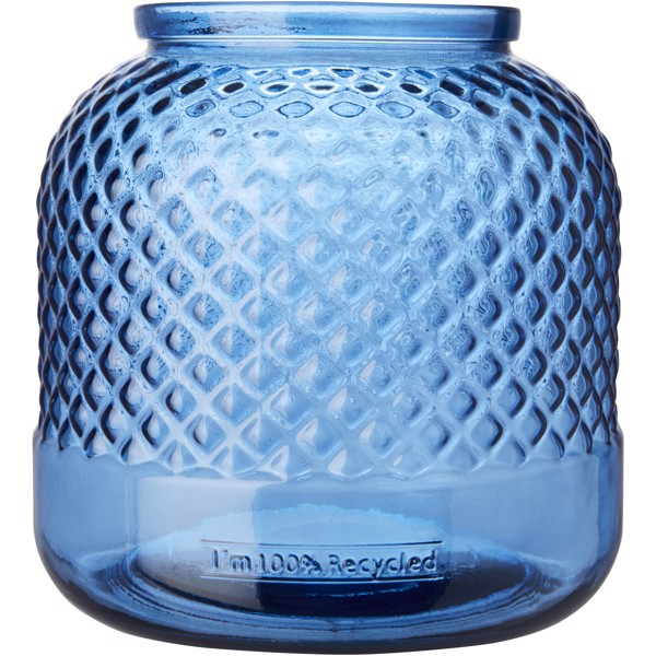 Estar recycled glass candle holder - Transparent Blue