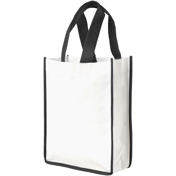 Contrast small non-woven shopping tote bag - White / Solid black