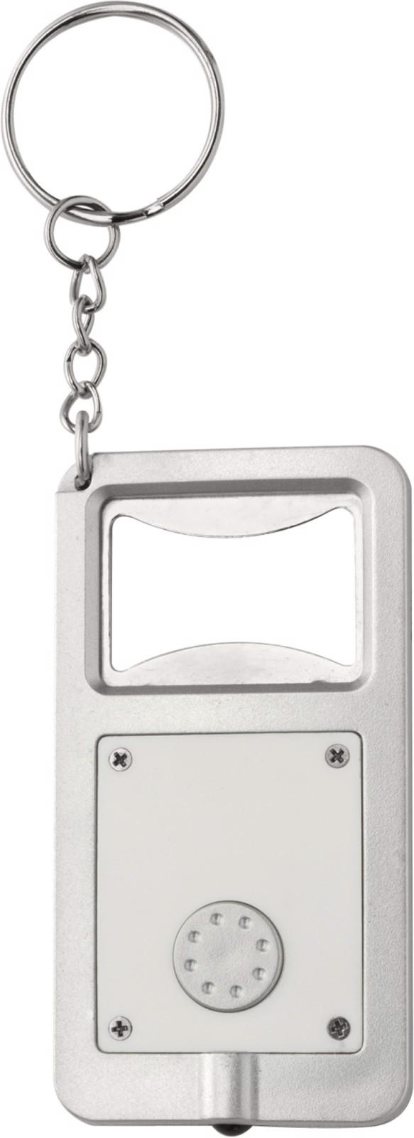 Plastic key holder with LED - White