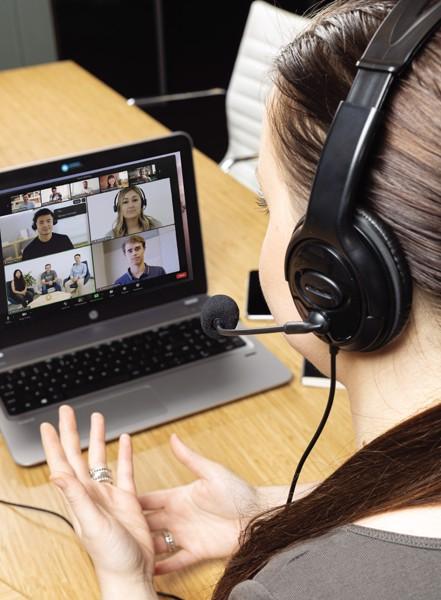 Kancelářský headset s mikrofonem