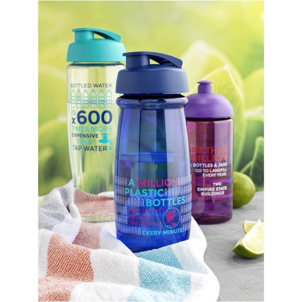 H2O Pulse® Bidón deportivo con Tapa Flip de 600 ml - Transparente / Negro intenso