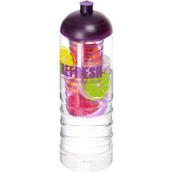 H2O Treble 750 ml lahev s infuzérem a kupolovitým víčkem - Průhledná / Purpurová