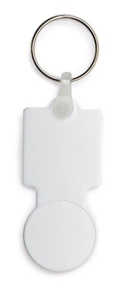 SULLIVAN. Coin-shaped keyring for supermarket trolley - White